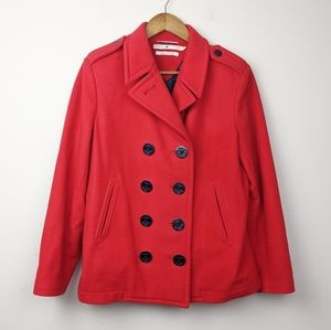 Tommy Hilfiger | Double Breasted Wool Red Peacoat